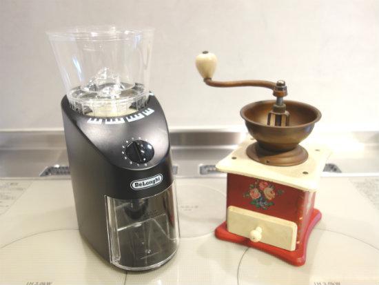 電動コーヒーミルと手動ミル